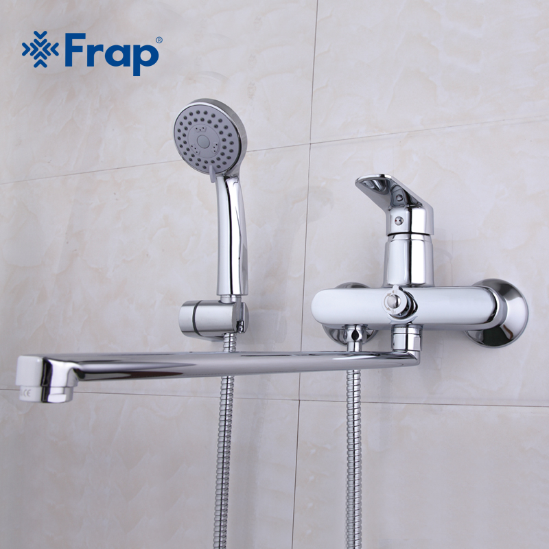 Frap High Quality Bathroom Mixer 40cm stainless steel long nose outlet brass shower faucet F2285