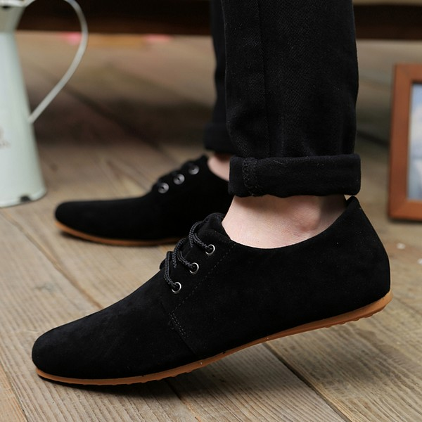 men shoes man casual Leather shoes spring/autumn men flat Loafer Shoes lace up zapatos male breathable Non Slip Black Shoes y28