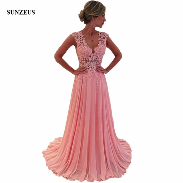 2018 New Real Mother Of The Bride Dresses V-Neck Pink Sheer Lace Chiffon A Line Floor Length Long Party Gowns For Women CM0823