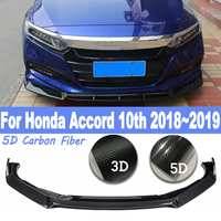 4Pcs For Honda Accords 10th 2018 2019 Front Shovel Bumper Lip Trim Cover Carbon Fiber Car Styling Kit