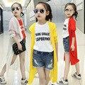 Muchachas de los cabritos Largos Cardigans Escudo Protector Solar 2016 Nuevo Verano Otoño Delgada Maxi Chaquetas Chicas ropa de Abrigo Abrigos Blanco Rojo Amarillo Traje