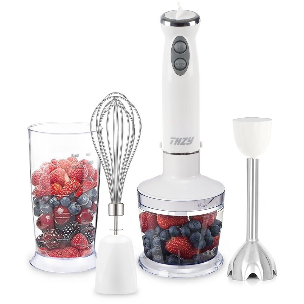 Hot Sale Immersion Hand Blender, Powerful 400 Watt 4-in-1 Stainless Hand Blender Stick, Food Processor, Whisk and Beaker hand in hand