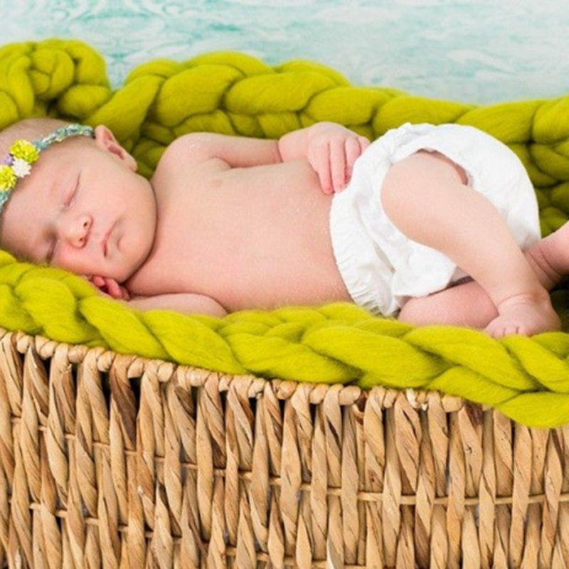 Nordic Style Iceland Wool Fiber Rope 350cm Filling Basket Braid Blanket Basket Stuffer Newborn Photography Props Baby Show