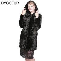 DYCCFUR 90cm Real Mink Fur Coat With Hooded Long Fur Coat Genuine Detachable Fur Coat Women