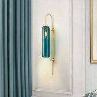 Современный настенный светильник Золотой металлический Настенный бра для спальни гостиная Luminaria синий стеклянный светильник лобби освеще