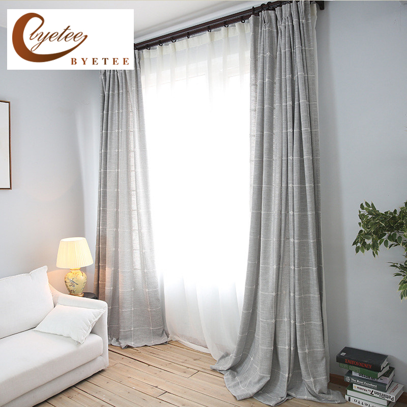 Byetee Modern Living Room Luxury Window Curtains Striped: {byetee} Plaid Flax Linen Luxury Curtains Modern Living