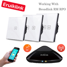 Eruiklink EU / UK Standard 1/2/3 Gang RF433 Remote Control Wall Touch Switch, Wireless Remote Control Light Switch Smart Home цена 2017
