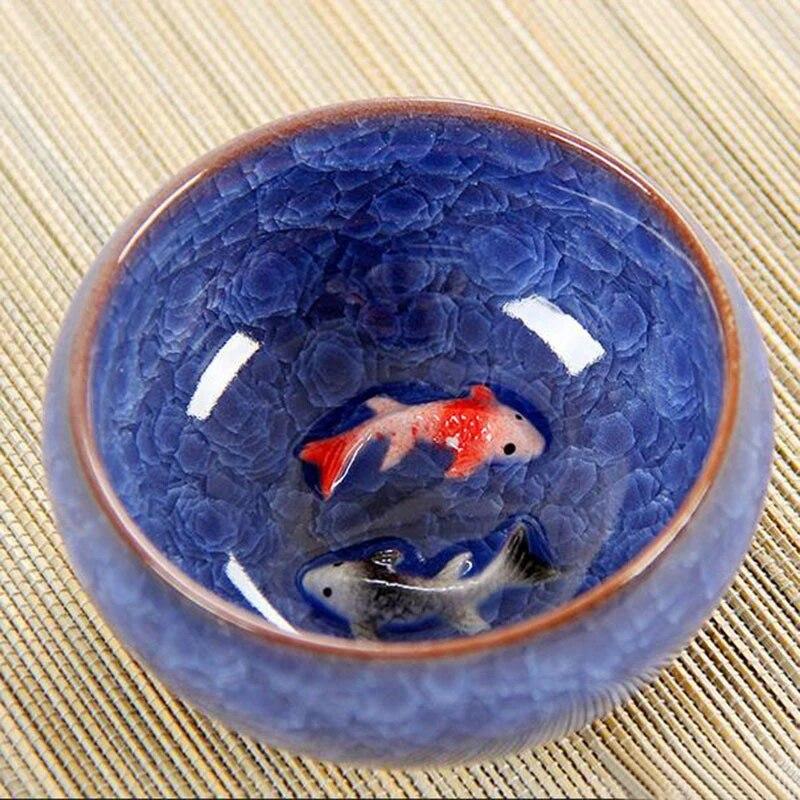 Chinese Ice Crackle Glaze Ceramic Teacups Anaglyph 3d Koi Fish Art Cup Single Tea Colorful Carp Fish Porcelain Tazza 1pc 60ml Ceramic Teacup Porcelain Cup Teacup Fish Aliexpress