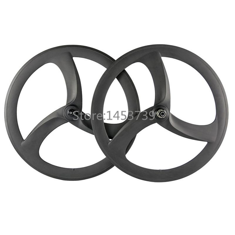 Tri spoke wheel 50mm depth clincher carbon wheelset road bike or fixed gear 3 spoke wheels стоимость