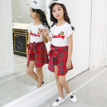 Kids Girl Clothes 2018 New Style Girls Summer Kids Children Sets Wear Short Sleeve T-Shirt +Lattice Culottes Two Piece Set