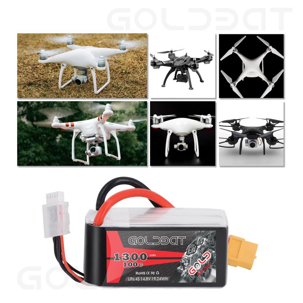 GOLDBAT Lipo batterie 1300 mAh 4 S 100C 14.8 V Softcase Pack avec prise XT60 pour RC voiture camion hélicoptère avion aéronef sans pilote (UAV) Drone FPV Racing 2pac - 5