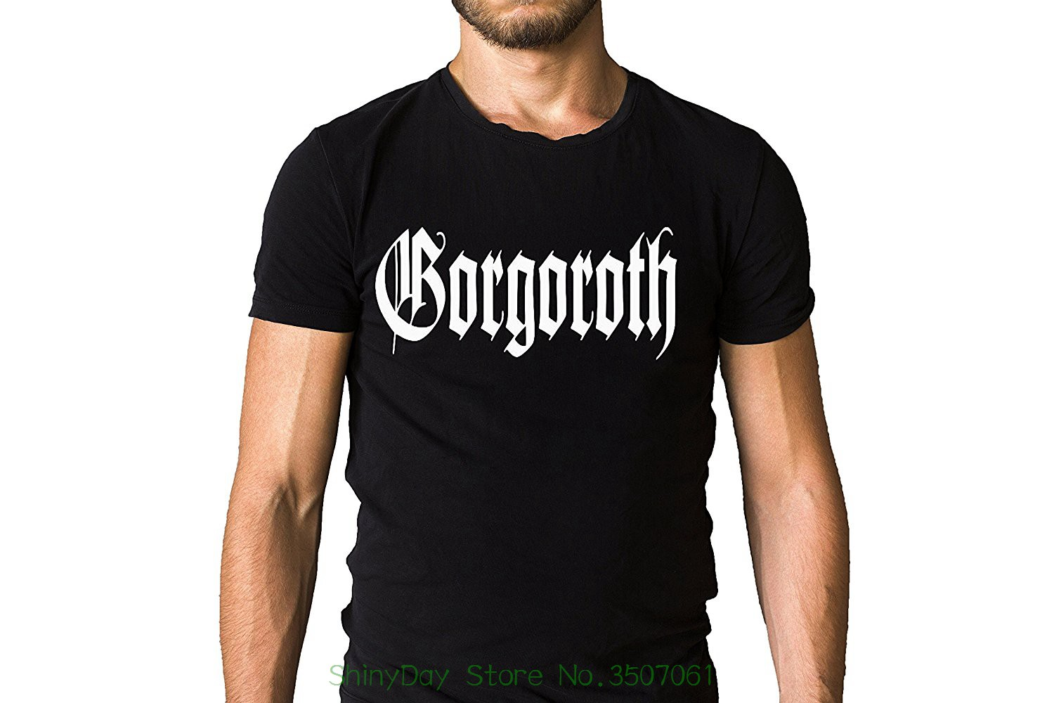 Round Neck Best Selling Male Natural Cotton Shirt Gorgoroth Band Title Logo Black T-shirt