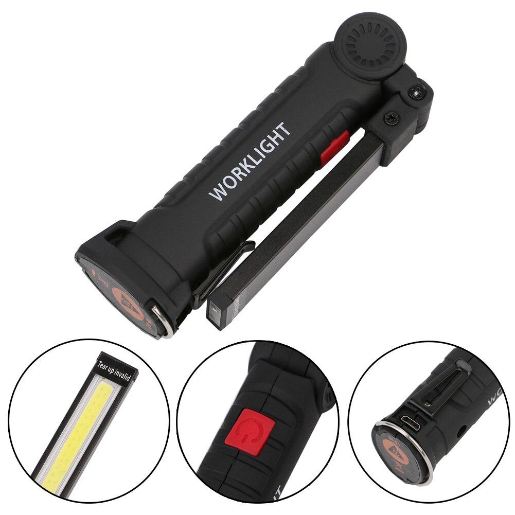 Magnetic Folding Hook Work COB LED Light Portable Multifunctional USB cable Big Size Working Flashlight