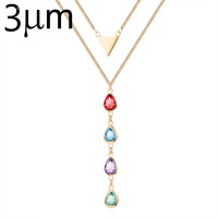 3UM Family Birthstone Necklace Mix Colorful Glass Gem Bezel Set Trilateral Multi Layer Pendant Necklace For