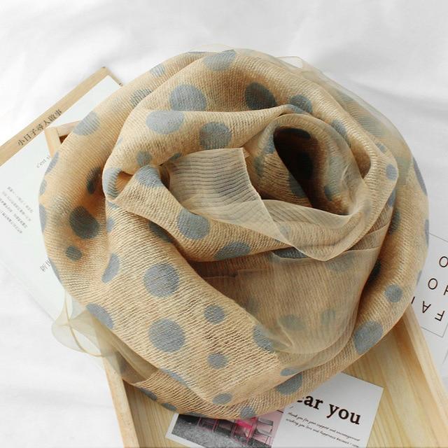 2020 Dot Silk Wool Scarf Women Scarves Fashion Print Shawls And Wraps Lady Hijabs Foulard Bandana Female Pashmina Beach Stoles