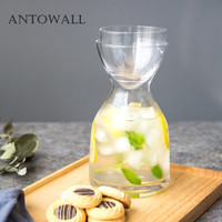ANTOWALL Household transparent thick glass cold water bottle heat resistant glass water jug juice pot creative beverage kettle