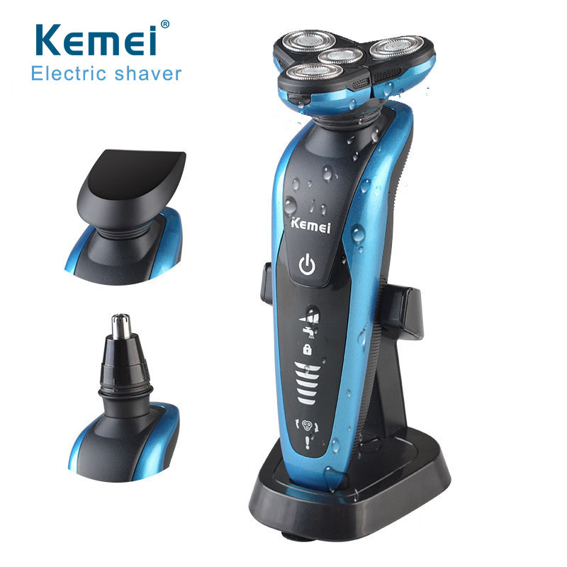 KM 58892  3 in1 Washable Rechargeable Electric Shaver 3D Floating 3 Blades Electric Shaving Razors Multifunction Men Face Care queenme waterproof five blades wet dry electric shaver for men with folding charging base rechargeable washable face beard