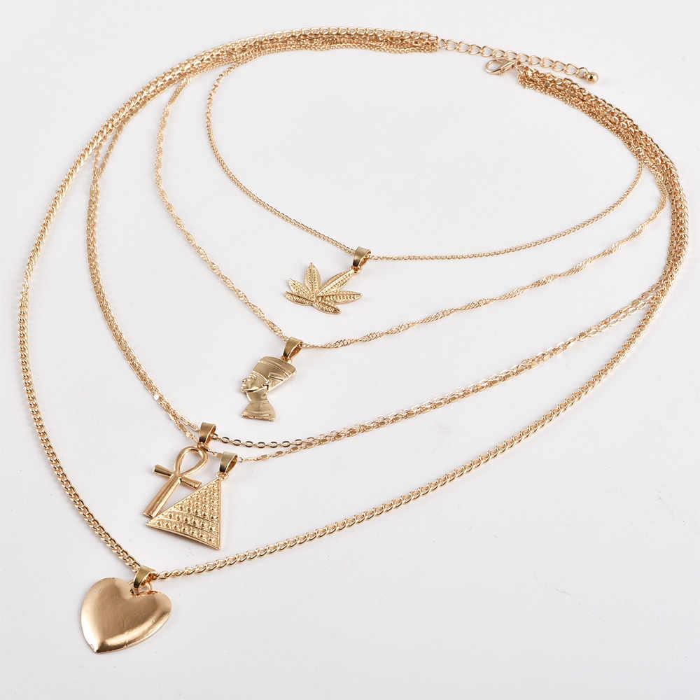 VINTAGE Leaf CROSS Heart พีระมิดโบราณอียิปต์ฟาโรห์จี้ Multilayer Gold สร้อยคอ Punk Lady เครื่องประดับชุดสร้อยคอผู้หญิง
