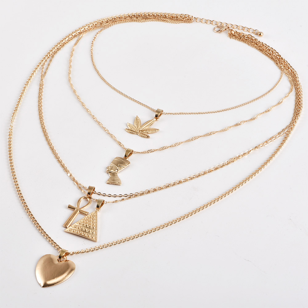Vintage Leaf Cross Heart Pyramid Ancient Egyptian Pharaoh Pendant Multilayer Gold Necklace Punk Lady Jewelry Women Necklace Set Shop The Nation