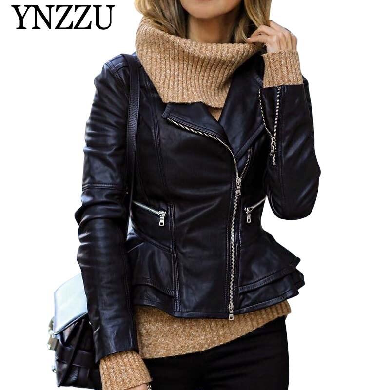 YNZZU 2019 Autumn Winter New arrival solid women PU coat Zippers ruffles elegant turn down collar Female   leather   jacket YO825
