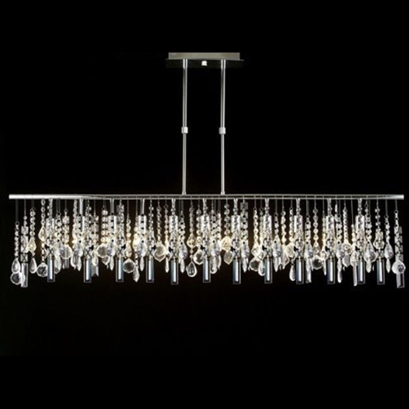 Contemporary Broadway Linear Crystal LED Pendant Lights Modern pendant lamps New home lighting Parlor Study Master Bedroom E075