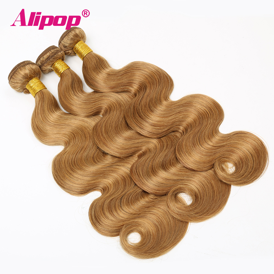 Honey Blonde Bundles Human Hair Body Wave Color 27 Brazilian Hair Bundles Vendors Hair Extenstions Alipop