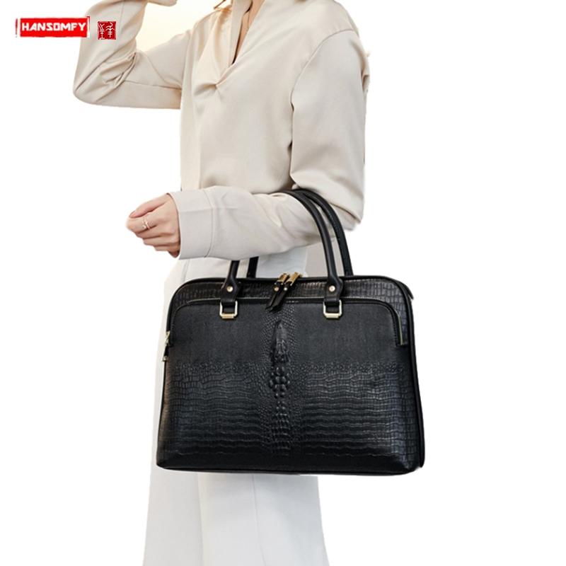 New Women Handbag 13.3/14 Inch Laptop Bag Female Professional Ladies Briefcase Business A4 File Package Shoulder Crossbody Bags