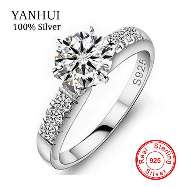 Have Silver Certificate Of Authenticity 100 Solid 925 Sterling Silver Ring 1ct Sona Cz Diamant Engagement Ring For Women Jzr051 In Wedding Bands From