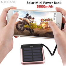 Solar Mini Power Bank 2.0A Quick Charge Powerbank 5000mAh Portable Fast Charging External Battery with Cable
