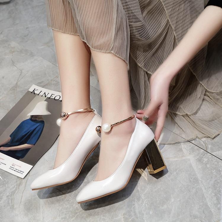 Jane Toe Rosado Blanco Boda Zapatos Chunky Tacones Mary Size658 Nupcial Bombas Mujeres Redonda blanco Grande Altos Negro Alta Beige Estrella 2017all wIaqvw