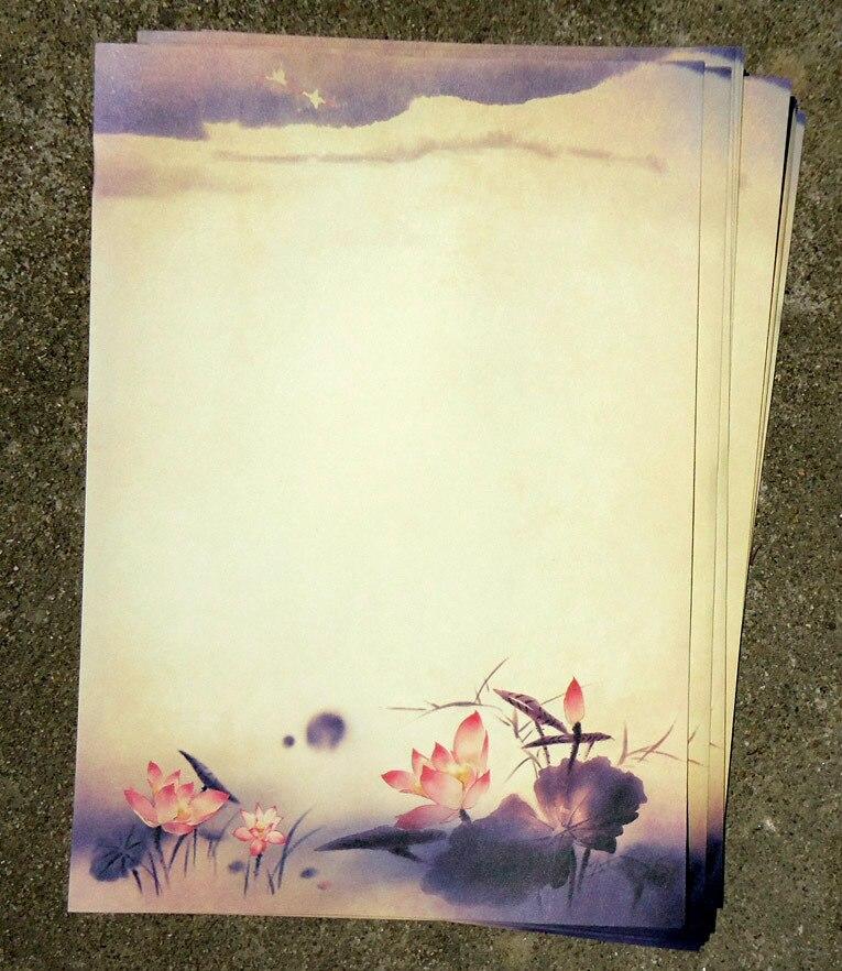 80 шт. китайская живопись чернилами традиционный старинный классический цветок лотоса блокнот/бумажный винтажный подарок сувенирная бумага для письма
