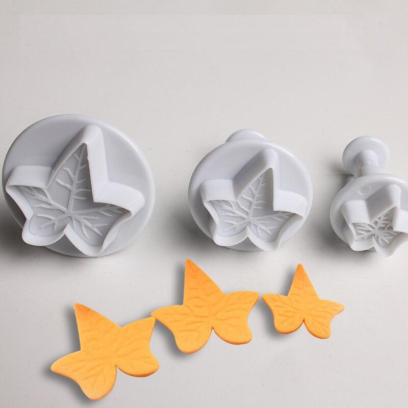 3PCS Maple Leaf Mold Cookie Cutter Home DIY Sugarcraft Fondant Baking Mould Tool