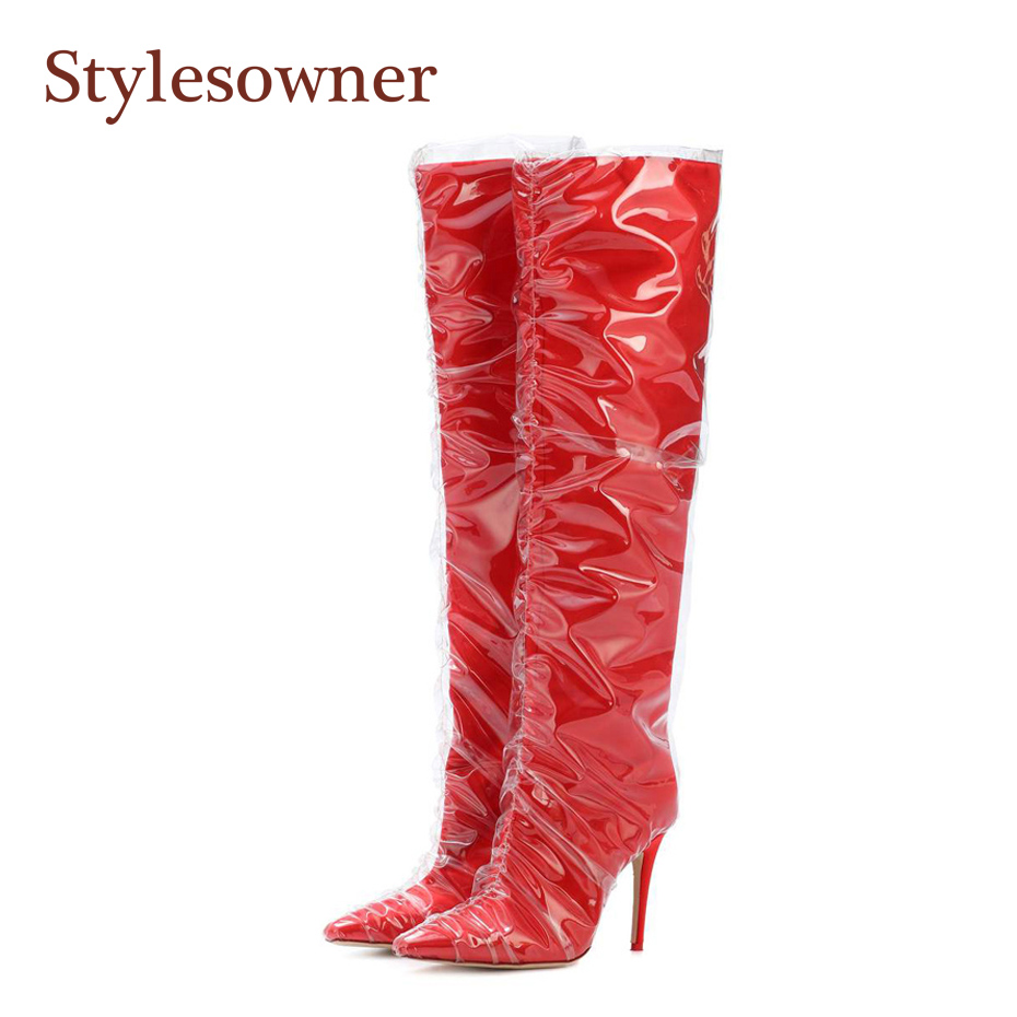 da86dcea253e Stylesowner 2018 Newest Boots For Women Satin PVC-wrapped 11cm Thin Heel  Sexy Nightclub Bota Red Black Grid Knee-high Femme Boot