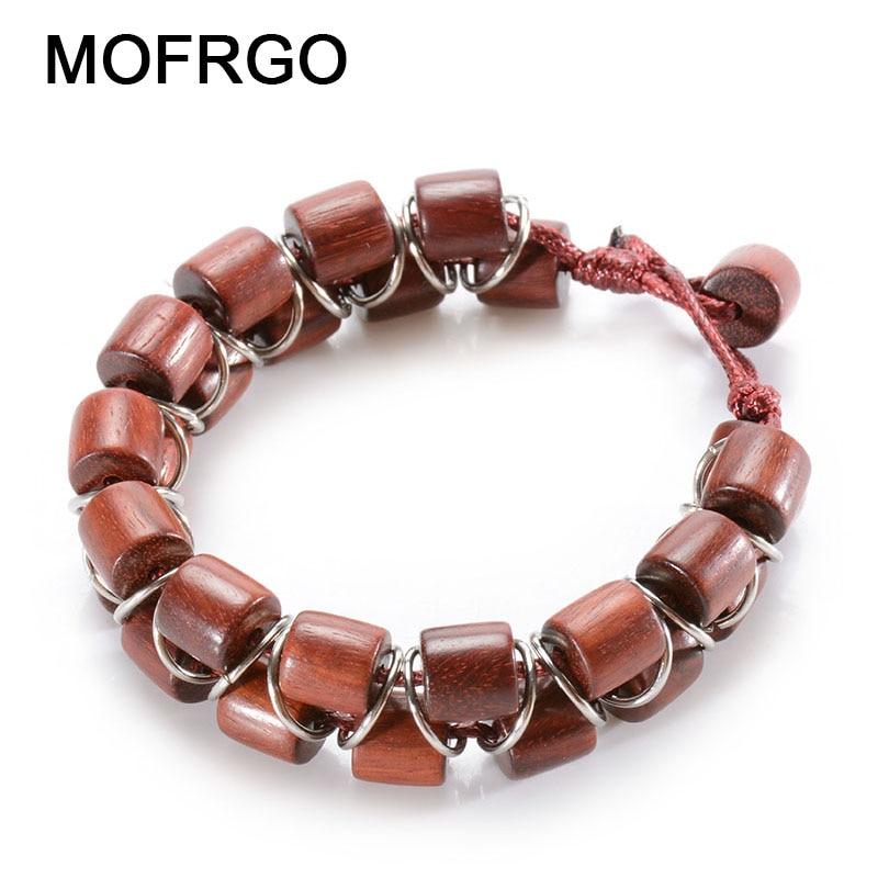 MOFRGO Wood Bead Bracelet Men Natural Red Sandalwood Chakra Wax Rope With Metal Circle Chinese Style Meditation Ladies Wristband