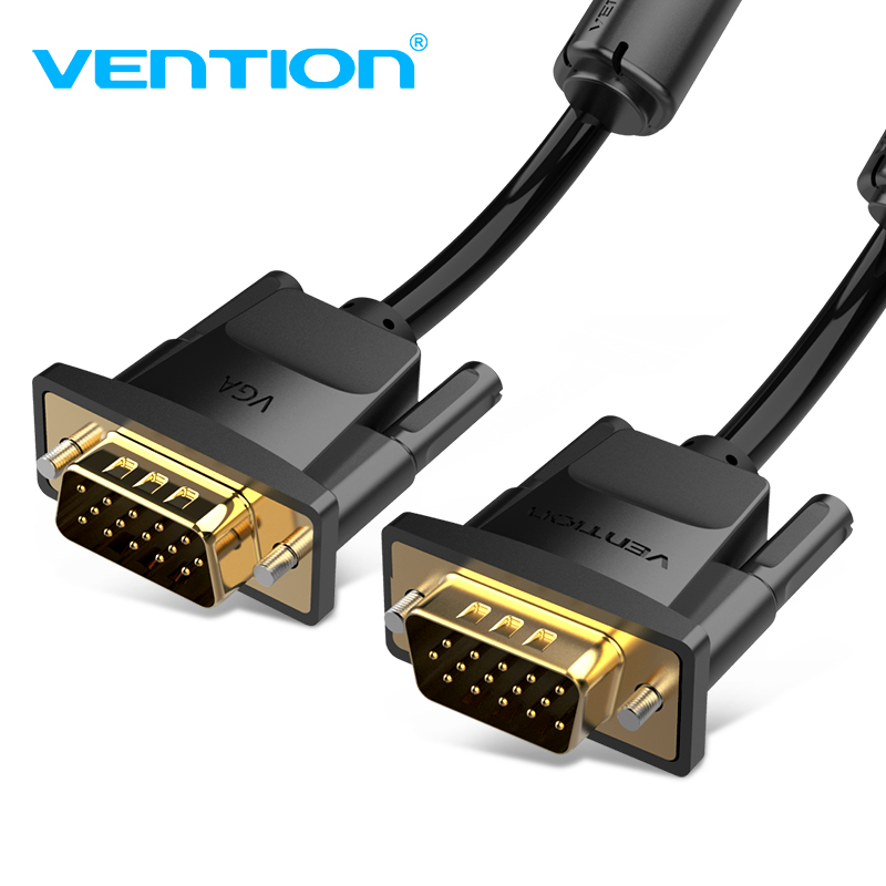 Vention 1080P <font><b>VGA</b></font> <font><b>Cable</b></font> 3+9 <font><b>VGA</b></font> to <font><b>VGA</b></font> <font><b>Cable</b></font> Gold-plated Connector Male to Male <font><b>Cable</b></font> 1M 2M 3M <font><b>5M</b></font> 8M 10M For Computer Projector image