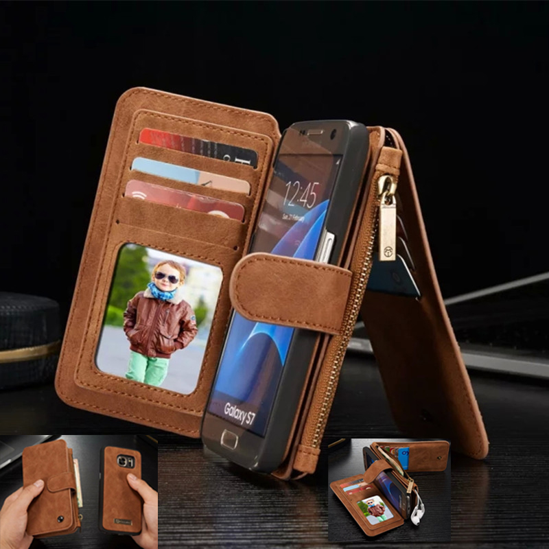 sale retailer 434b6 4b661 US $12.87 8% OFF|Leather Wallet Cases for Samsung Galaxy S9 S8 Plus S7 S6  Edge Note 8 5 Coque for iphone X 8 7 6 6S Plus Case Cover Phone Bag -in ...
