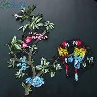 1 cái/lốc Xinh Đẹp thuần sợi hoa và chim appliques DIY may trên quần áo lớn trang trí kích thước thêu patches cho quần áo