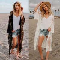 Praia pareo feminino rendas cardigan kaftan xale casaco wear roupa de banho capa para cima blusa 2019 sexy maiô capa para maiô