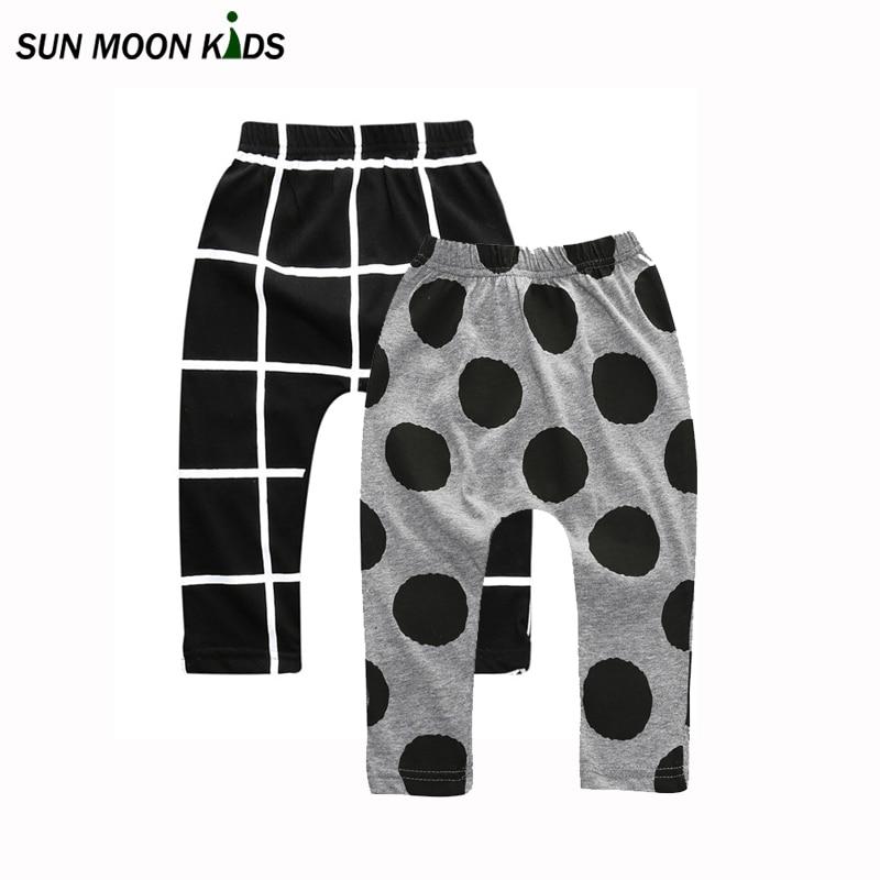 Sun Moon Kids 2Pcs/lot baby pants summer&autumn cotton infant pants newborn baby boy pants baby girl clothes 0-24M baby trousers