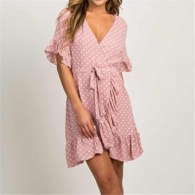 Розовое летнее платье в горошек с v-образным вырезом и поясом для женщин 2019, Boho, Пляжное стильное платье с принтом, модное платье с оборками, а-силуэт, Платья для вечеринок, Vestidos