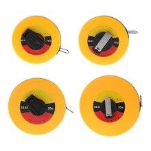 OOTDTY Fiber Measuring Tape 10/15/20/30m Hand-held Disc Flexible Ruler Wind Up Measuring Tool