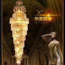 цена на LED modern luxury long crystal chandelier lights villa loft dining room parlor foyer lobby restaurant crystal stair droplight