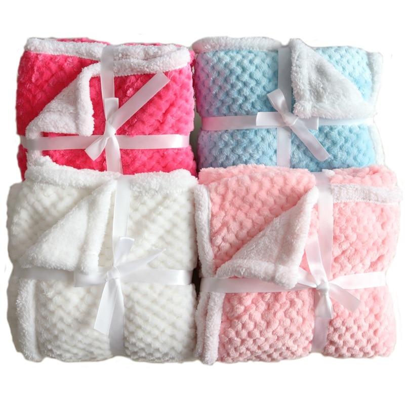 Baby Blanket Thermal Fleece Pineapple Grid Blanket Infant Swaddle Envelope Bebe Stroller Wrap For Newborn Baby Bedding Blankets
