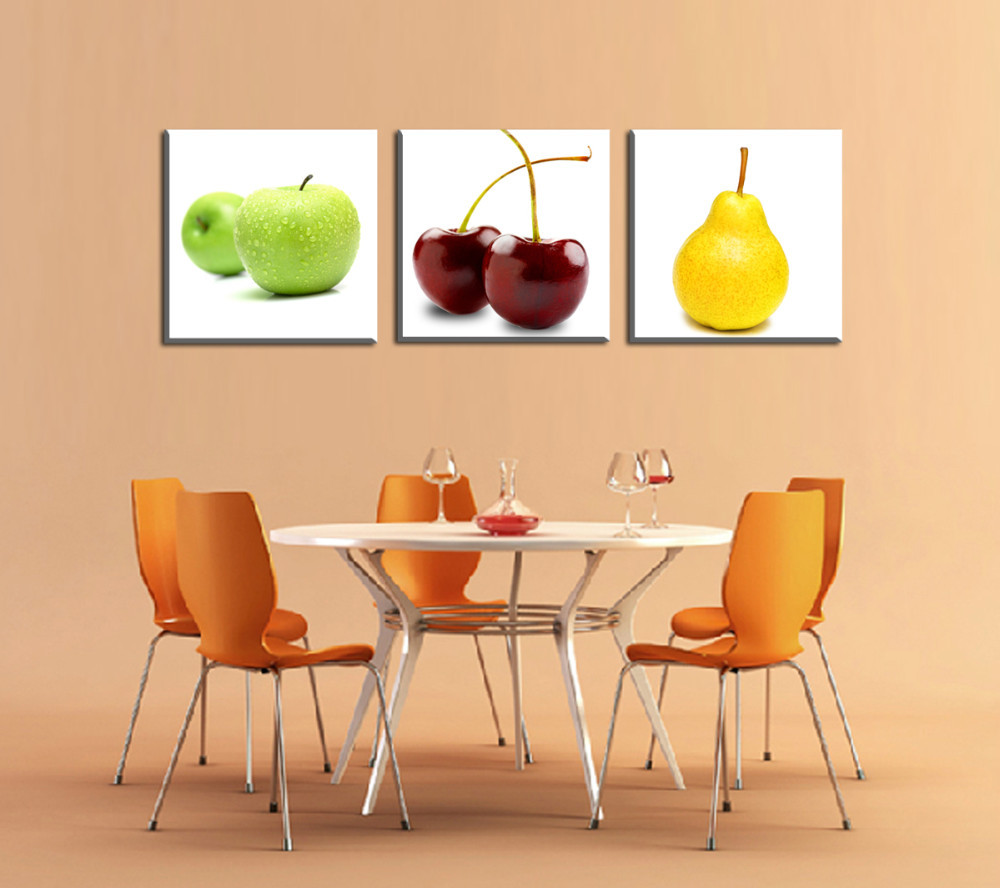 3 Panels Apples and pears Painting Canvas Wall Art Picture Home ...