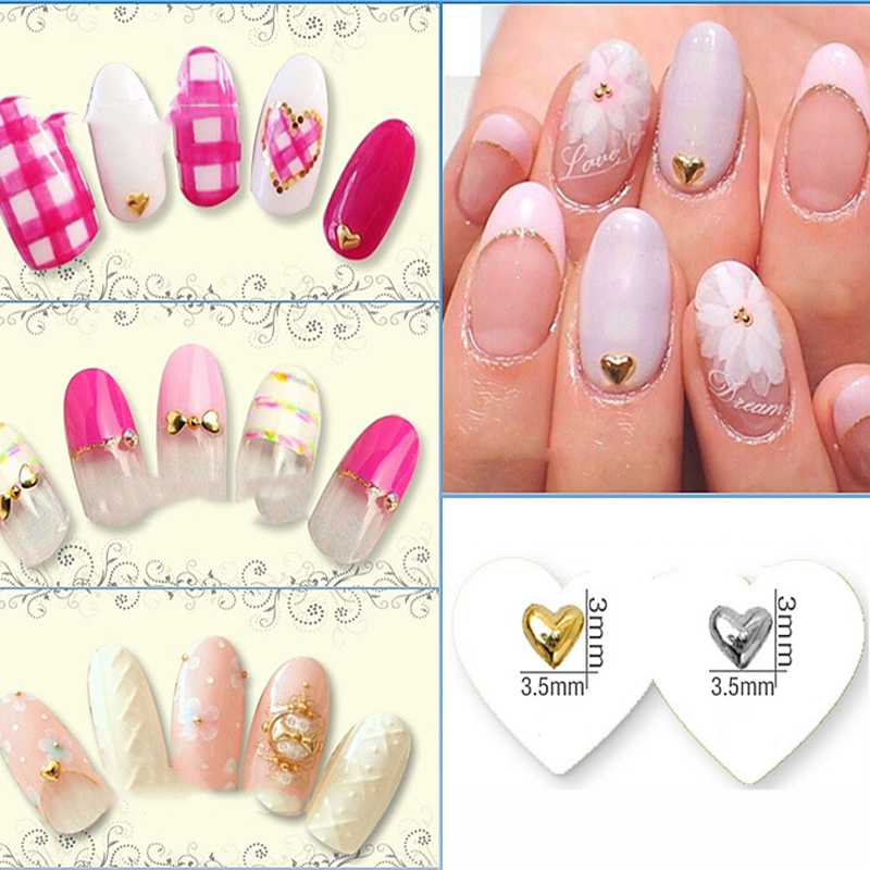 10pcs set 3d nail decoration gold silver heart shape rivet for 3d nail art decoration