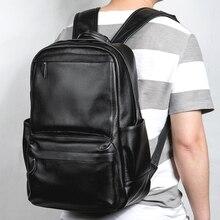 LIELANG الرجال جلد طبيعي على ظهره كمبيوتر محمول مقاوم للماء الذكور حقيبة مدرسية عالية الجودة الرجال daypack حقيبة السفر عادية حقيبة