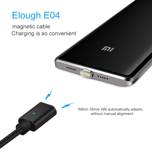 Elough E04 Magnetic USB Cable For Microusb Mobile Phone Fast Charging Cable Magnet Charger Sync Data Micro USB Cable wire