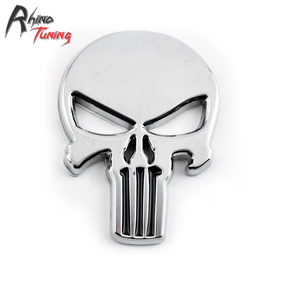 5pcs Skull Skeleton 3D body silver metal Motorcycle THE Punisher Badge Auto Emblem for T ...