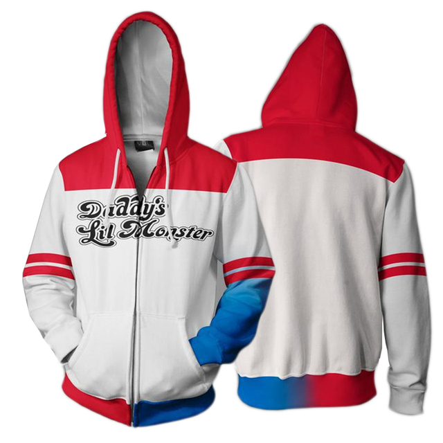 4f40396650e8 3D Printed Hoodie Suicide Squad Harley Quinn Cosplay Zip Up Hooded For  Women Men Jacket Sweatshirt Long Sleeve Streatwear Coat