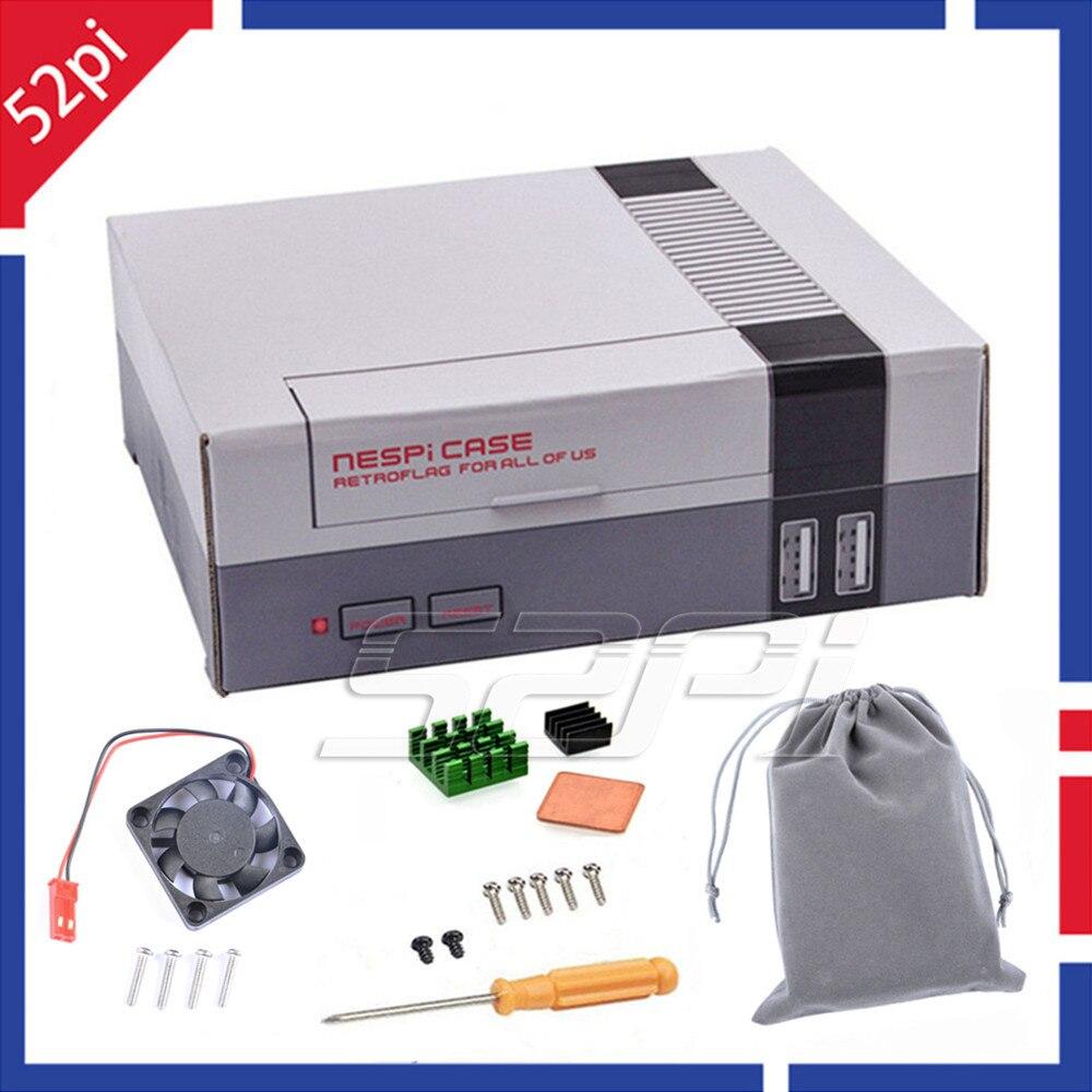 52Pi Auf Lager! Mini NES NESPI FALL Retroflag Kit mit Lüfter + Kühlkörper + Flanell tasche für RetroPie Raspberry Pi 3/2/B +